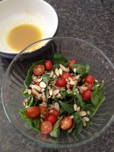 Spinach Salad & Dressing (prior to mixing)